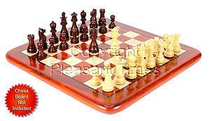 """Bud Rosewood / Boxwood Chess Set Pieces Galaxy Staunton 3"""" (76 mm) + 2 Extra Queens - Triple Weighted"""