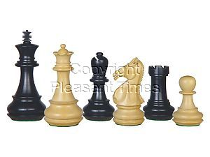"""Ebony Wood Chess Set Pieces Royal King 4-1/4"""" + 2 Extra Queens"""