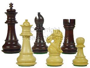 "Premier Chess Pieces Royal Knight Staunton King Size 3-3/4"" Rosewood/Boxwood"
