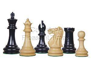 """Tournament Chess Pieces Wooden Monarch Staunton Ebonized/Boxwood 4"""""""