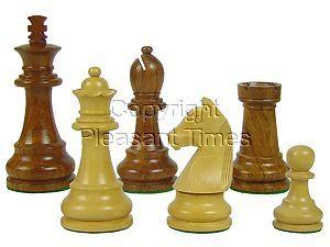 "Tournament Wood Chess Set Pieces Standard Staunton 3-3/4"" Golden Rosewood/Boxwood"