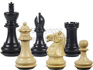"Wood Chess Set Pieces Emperor Staunton Ebony/Boxwood King Size 3-1/2"""
