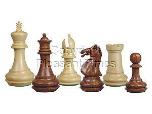 "Emperor Staunton Wooden Chess Pieces Golden Rosewood/Boxwood 4"""
