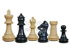 Premier Chess Set Pieces Royal Crown Staunton Ebony/Boxwood 4-1/4inch