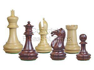 "Emperor Staunton Wooden Chess Pieces Rosewood/Boxwood 4"""