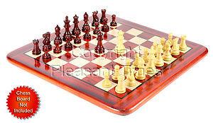 "Wood Chess Set Pieces Monarch Staunton King Size 3"" Bud Rosewood/Boxwood"
