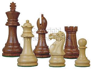 "Tournament Chess Pieces Wooden Monarch Staunton Golden Rosewood/Boxwood 3-3/4"""
