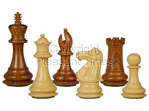 "Wooden Tournament Chess Pieces Regal Staunton 3-3/4"" Golden Rosewood/Boxwood"