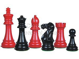 Perfect Tournament Chess Set Pieces Imperial Staunton Red Black Lacquered 4