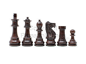 """Wooden Unique Staunton Chess Pieces King Size 3-3/4"""" Ringy Rosewood/Boxwood"""