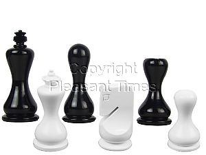 """Modern Round Artistic Wooden Chess Set Pieces 3-3-/4"""" Black/Ivory Colored"""