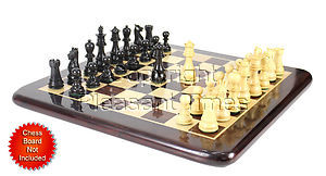 """Ebony/Boxwood Chess Set Pieces Galaxy Staunton 3"""" (76 mm) + 2 Extra Queens - Triple Weighted"""