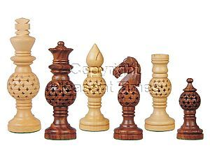 Globe Design Artistic Wood Chess Set Pieces Golden Rosewood/Boxwood 4-1/4""