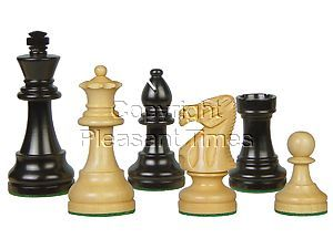 "Popular Staunton Tournament Wood Chess Set Pieces 3-3/4"" Ebony/Boxwood"