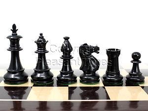 "Victorian Staunton Wooden Chess Pieces Ebonized/Boxwood 3-3/4"""
