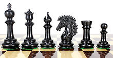 "Ebony/Boxwood Chess Set Pieces Encore Staunton 4.5"" + 2 Extra Queens + Wooden Storage Box"