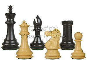 """Wooden Tournament Chess Pieces Regal Staunton 3-3/4"""" Ebony/Boxwood"""