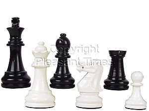 "Premier Wooden Chess Set Pieces Empire Staunton King Size 3-3/4"" Black/Ivory Color"