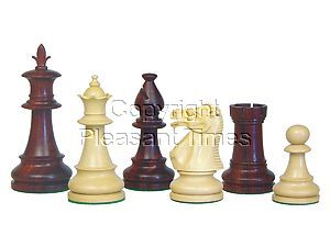 """Victorian Staunton Wooden Chess Pieces Rosewood/Boxwood 3-3/4"""""""