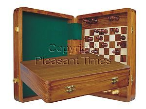 """Wood Travel Chess Set Magnetic Board Inside 12""""x10"""" Golden Rosewood/Maple"""