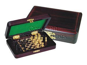 """Wood Pegged Chess Set Inlaid Board Inside & Pieces Rosewood/Maple 6""""x4"""""""