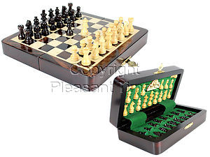 """7.5"""" Wooden Chess Set Travel Magnetic Folding Board Rosewood + 2 Extra Queens"""