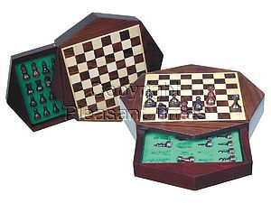 """Travel Magnetic Chess Set 9"""" Octagonal Shape with Drawer Rosewood/Maple"""