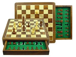 """Travel Chess Set Magnetic Push Drawer 14"""" with Inserts Golden Rosewood/Maple"""
