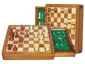 "Travel Chess Set Magnetic Push Drawer 10"" With Inserts Golden Rosewood/Maple"