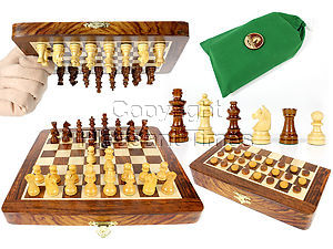 """Travel Magnetic Chess Set Folding 9"""" with 2 Extra Queens, Pawns & Checkers Golden Rosewood/Maple"""