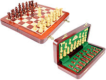 "10"" Wooden Chess Set Travel Magnetic Folding Board Bud Rosewood + 2 Extra Queens"