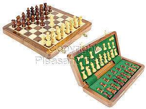 """10"""" Wooden Chess Set Travel Magnetic Folding Board Golden Rosewood + 2 Extra Queens"""