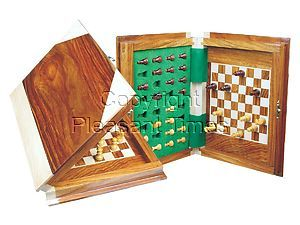 """Book Shape Travel Wood Magnetic Chess Set 9""""x7"""" Golden Rosewood/Maple"""