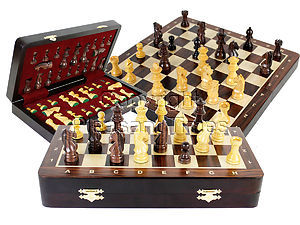 """Travel Chess Set Magnetic Folding 12"""" with 2 Extra Queens, Pawns & 4 Extra Knights Rosewood/Maple and Inlaid Algebraic Notations"""
