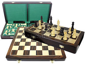 """Premier Chess Set Board & Pieces Imperial Staunton King Size 4"""" with 20"""" Folding Board/Box Rosewood/Maple"""