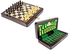 "6.25"" Wooden Chess Set Travel Magnetic Folding Board Rosewood + 2 Extra Queens"