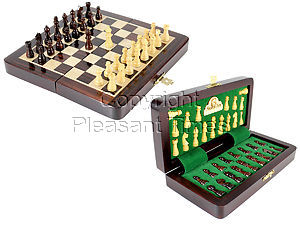 """6.25"""" Wooden Chess Set Travel Magnetic Folding Board Rosewood + 2 Extra Queens"""