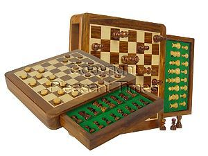 "Travel Magnetic Chess Set & Checkers in 10""x10"" Flat Drawer Golden Rosewood/Maple"