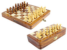 "8"" Wooden Chess Set Travel Magnetic Folding Board Golden Rosewood + 2 Extra Queens"