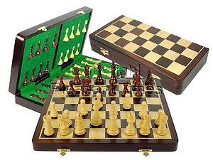 "Tournament Chess Set Board & Pieces Imperial Staunton King Size 4"" with 18"" Folding Board/Box Rosewood/Maple"