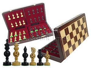 "Artistic Chess Set Magic Balls Ebony Pieces 4"" & 18"" Folding Board/Box Rosewood/Maple"