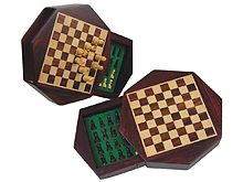 "Wood Magnetic Chess Set 6"" Octagonal Shape with Drawer Rosewood/Maple"