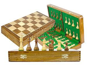 "Tournament Chess Set Board & Pieces Imperial Staunton King Size 4"" with 18"" Folding Board/Box Golden Rosewood/Maple"
