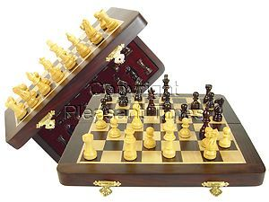 """Travel Magnetic Chess Set Folding 10"""" with 2 Extra Queens, Pawns & 4 Extra Knights Rosewood/Maple"""