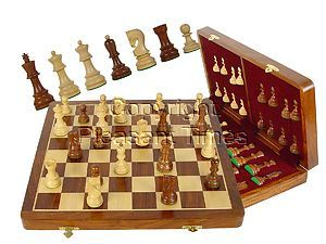 "Wooden Tournament Chess Set Yugo Staunton 3-3/4"" & 18"" Folding Chess Board and Box Golden Rosewood/Maple"