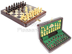 "8"" Wooden Chess Set Travel Magnetic Folding Board Rosewood + 2 Extra Queens"