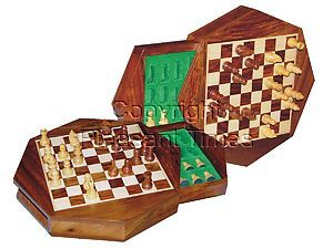 """Travel Magnetic Chess Set 9"""" Octagonal Shape with Drawer Golden Rosewood/Maple"""
