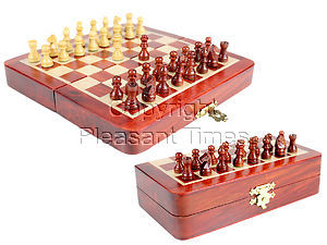 """5"""" Wooden Chess Set Travel Magnetic Folding Board Bud Rosewood + 2 Extra Queens"""