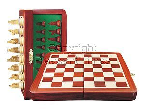 "Isle of Lewis Theme Magnetic Chess Set Folding 8"" Blood Wood/Maple"