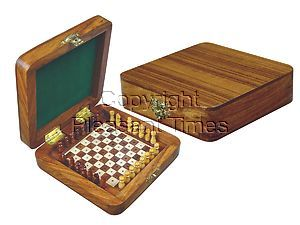 """Wooden Pegged Chess Set with Extra Standing Space for Pegs in Golden Rosewood/Maple 5""""x5"""""""